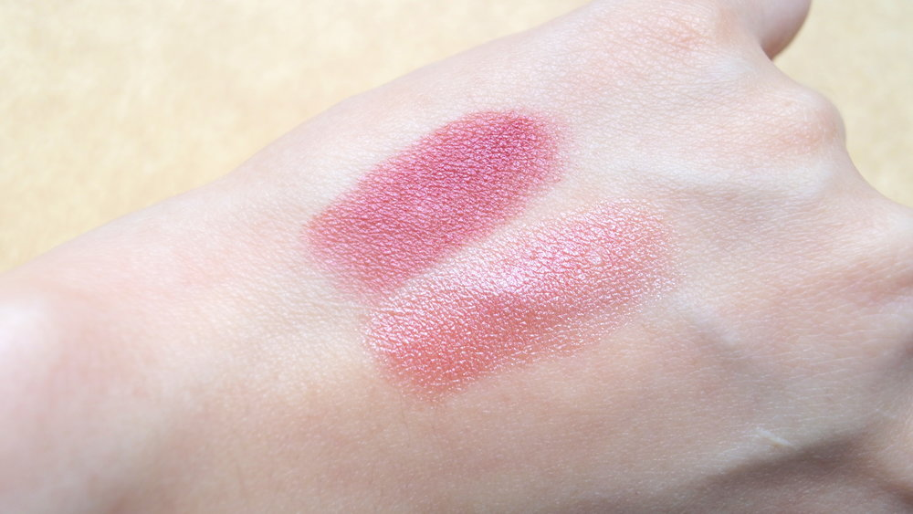 Elizabeth Arden Ultra Ceramide Lipstick in 24 Cassis (T) and 27 Rose Aurora (B)