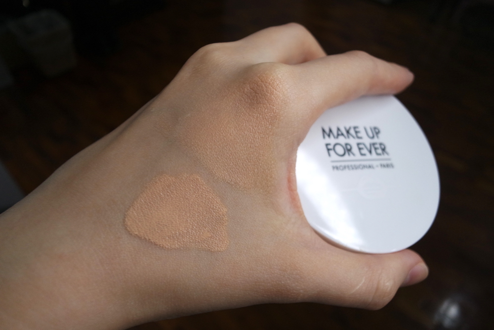 Make Up For Ever UV Bright Cushion in Y225, swatched by pressing (L) and blending (R)