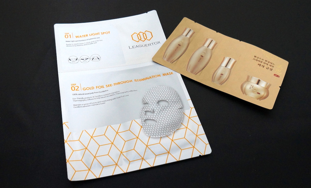 Leaguertox Gold Foil Seethrough Illumination Mask and Laniege Snow Gold Skincare Sample Set