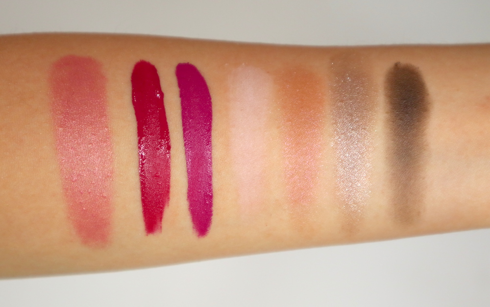Palladio color swatches: Palladio I'm Blushing 2-in-1 Cheek and Lip Tint in Dainty, Palladio Velvet Matte Cream Lip Color in Plush and Brocade, Palladio Eye Shadow Quad in Daytime Look