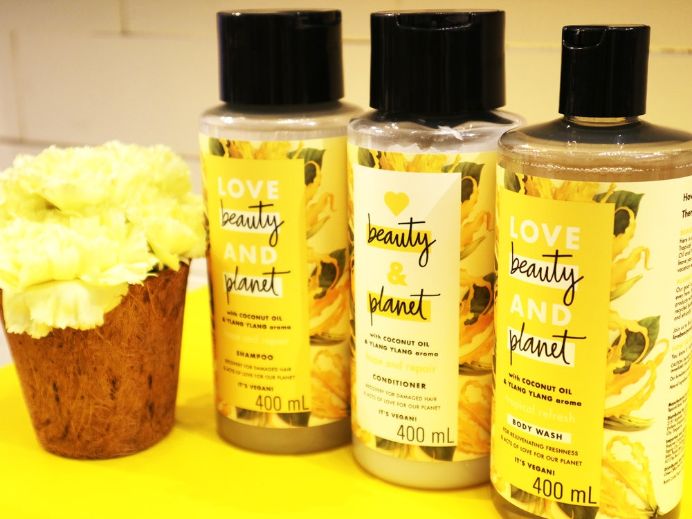 love beauty and planet coconut oil and ylang ylang collection shampoo conditioner body wash