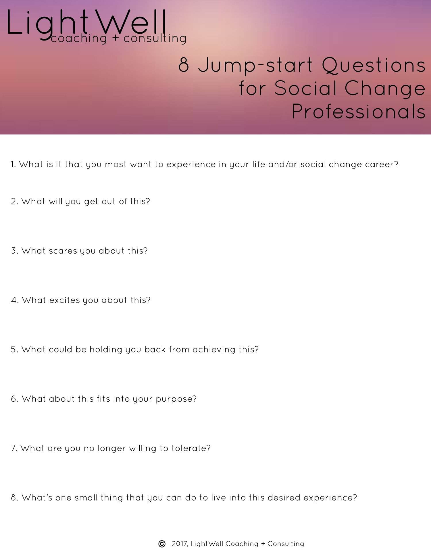 8 Jump-start Questions for Social Change Professionals — LightWell
