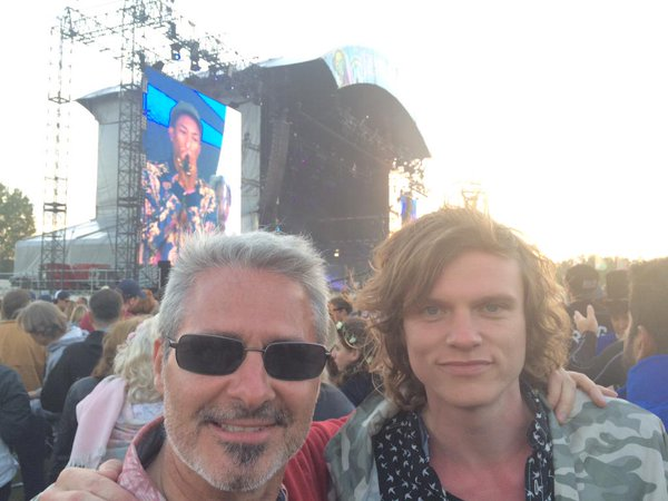 Castlerock Studios Owner, John Stretford & Singer Songwriter, Johnny Lucas, the EBPR Party at Isle of Wight Festival 2015
