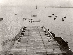 Eugene Ely landing his Curtiss Model D biplane on the USS Pennsylvania - Smithsonian.jpg