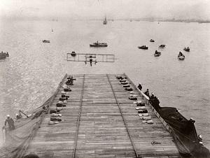 Eugene Ely landing his Curtiss Model D biplane on the USS Pennsylvania - Smithsonian.jpg