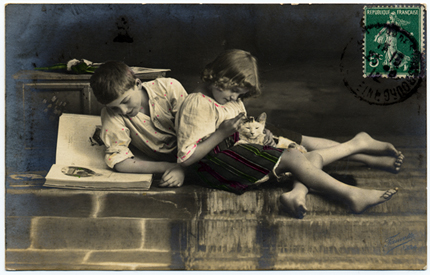 Vintage photo - children and cat