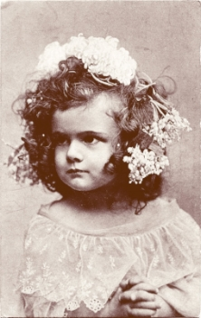 Vintage photo - girl with flowers in hair