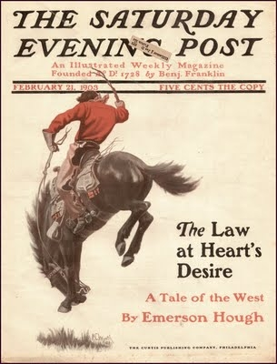 Cover of The Saturday Evening Post, featuring Wyeth's Bucking Bronco