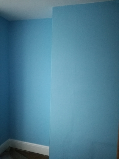 Liam's bedroom, emptied and ready for floorboards to be sorted. He didn't want to faff around with a feature wall