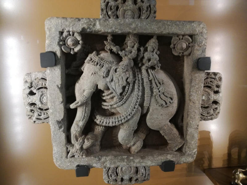 Stone panel of elephant and riders, Hoysala temple