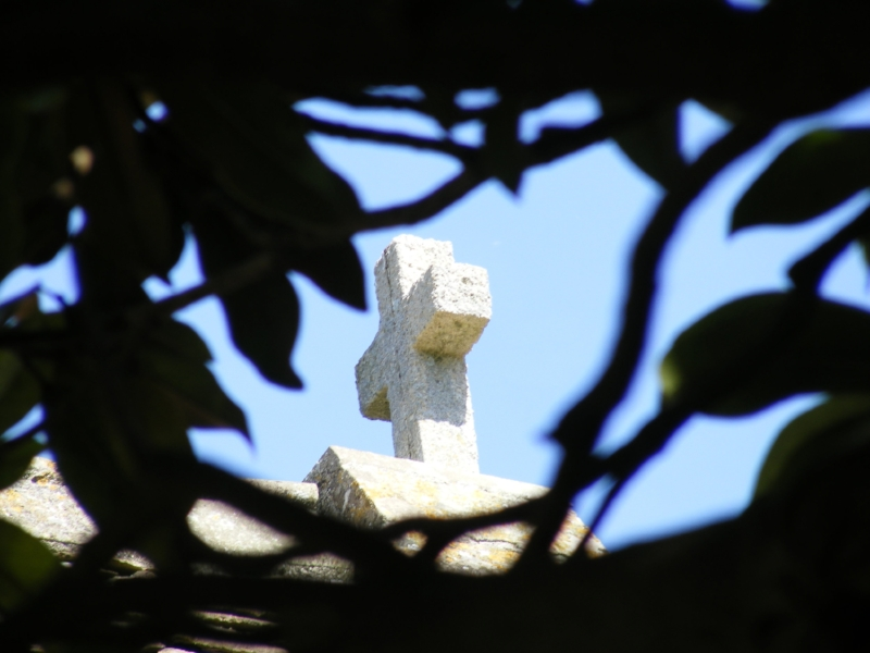 Cross on chapel through the trees