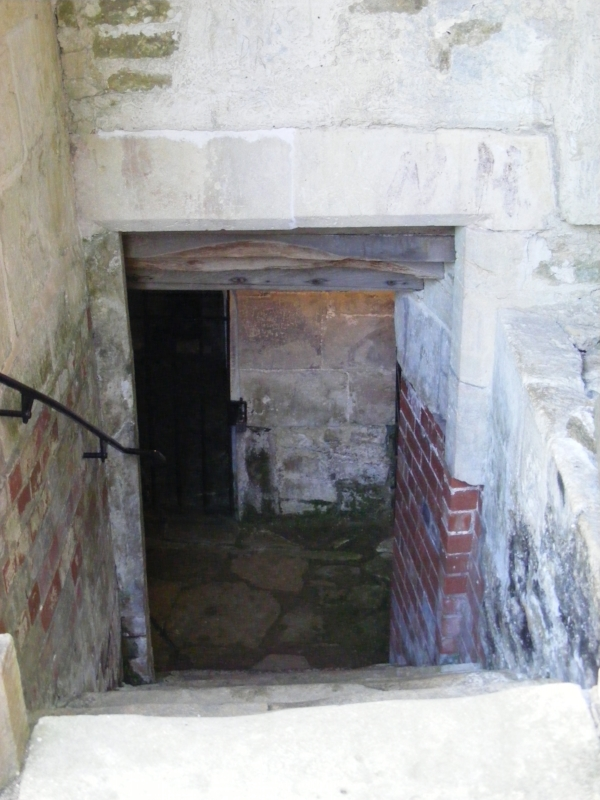 Steps down to the burial vault