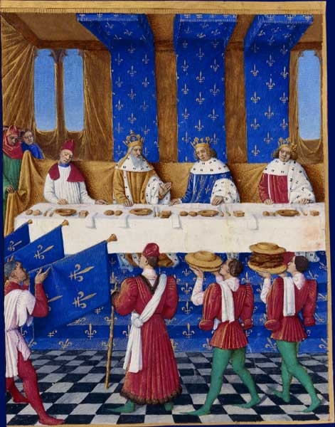 'Banquet of Charles V The Wise' ~ Jean Fouquet (1455-1460) 'Banquet given in Paris in 1378 by Charles V of France (centre, in blue) for Charles IV, Holy Roman Emperor (on his left) and his son, Wenceslaus, King of the Romans. Each diner has two knives, a square salt container, napkin, bread and a plate' (Wikipedia)