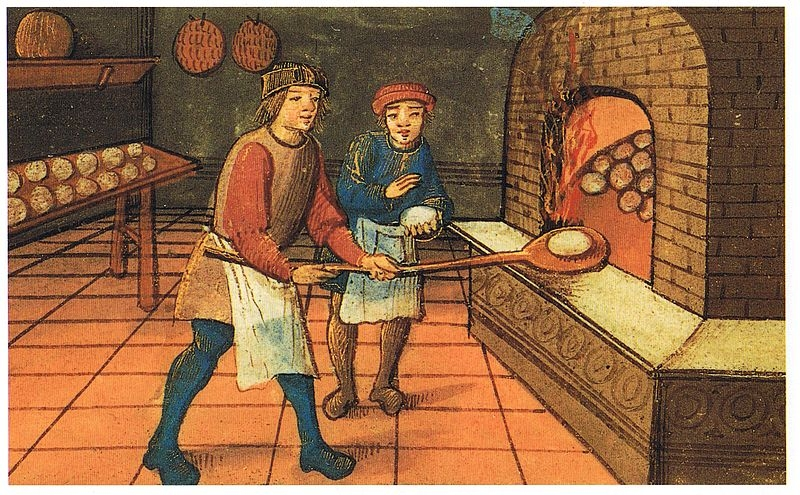 'Medieval baker with apprentice. Scanned from Maggie Black's ' Den medeltida kokboken ', Swedish translation of 'The Medieval Cookbook' (Wikipedia)