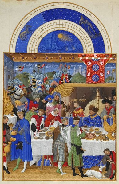 John, Duke of Berry, from a 'Book of Hours', illustrated by the Limbourg Brothers (Wikipedia) 'John, Duke of Berry, enjoying a grand meal. The Duke (in blue) is sitting at the high table… tended to by several servants including a carver. On the table to the left of the Duke is a golden salt cellar, or 'nef', in the shape of a ship'