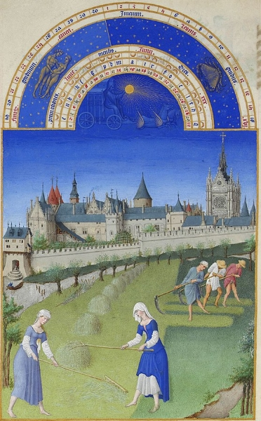 Haying scene - from a 'Book of Hours' illustrated by the Limbourg Brothers (Wikipedia)