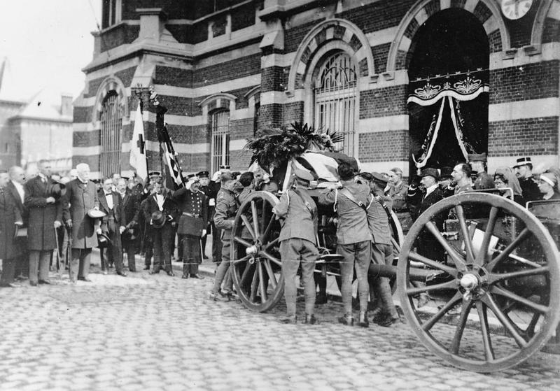 Edith Cavell's body being taken from the mortuary for transport back to England  [© IWM (Q 70081)]