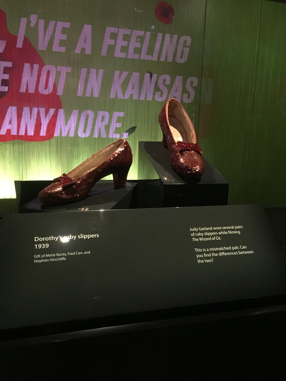 One day, I'd decided to go here alone on a Friday. Dorothy's original shoes from TWOOz. - Washington, DC; Smithsonian Museum, Fall 2018