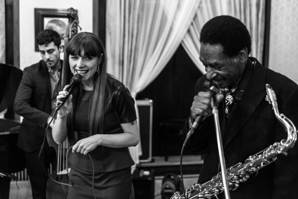 Sonia Edgy Quartet feat Knoel Scott (Sun Ra Arkestra) performed in the Polish Embassy, 6th December 2015.