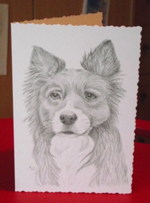 A personalised, commissioned greetings card - A5, graphite pencil