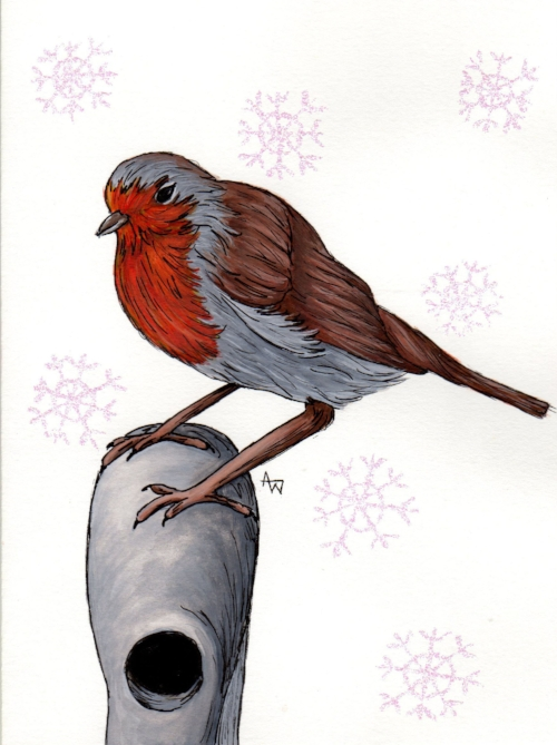 Robin on his perch - Commissioned Christmas card - A5, watercolour and inks.