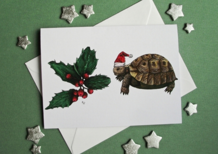 "Tortoise and Holy Leaf, with glitter - Christmas card - ""Have a Very Happy Christmas"" inside  - Envelope included"