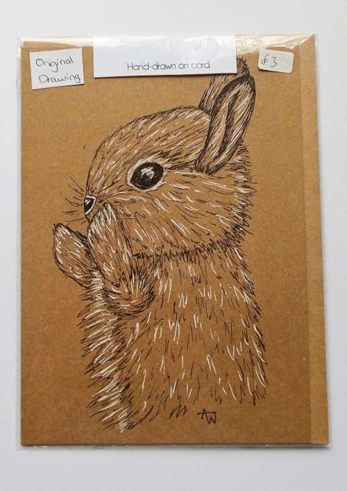 Bunny greetings card - 5inches x 7inches - Black fine-liner directly on to the card