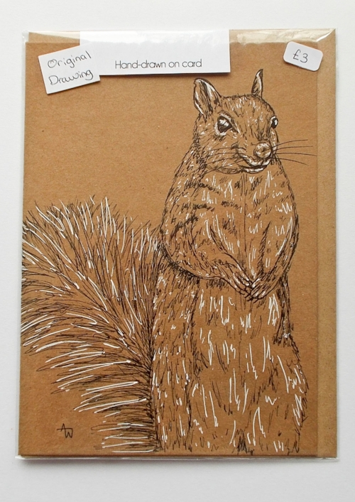 Greenwich Squirrel greetings card - 5inches x 7inches - Black fine-liner directly on to the card