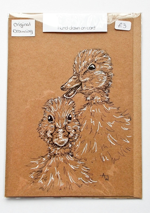 Ducklings greetings card - 5inches x 7inches - Black fine-liner directly on to the card