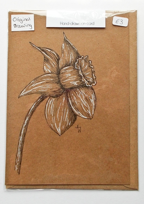 Daffodil greetings card - 5inches x 7inches - Black fine-liner directly on to the card