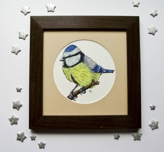 Blue Tit - Pen and Watercolour