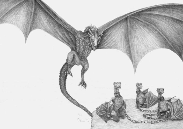 Game Of Thrones Dragons - A3 - Graphite pencils - Special commission