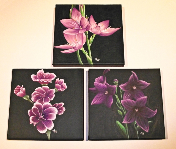 Trio of flower paintings on box canvases - acrylic paints