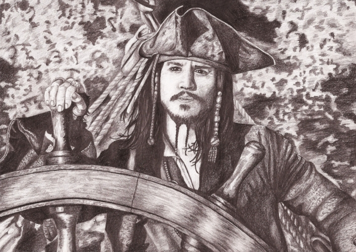 Captain Jack Sparrow, Pirates of the Caribbean - A4, graphite pencil