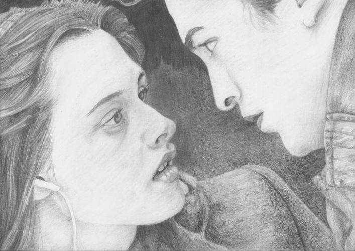 Edward and Bella, Twilight - A4, graphite pencil