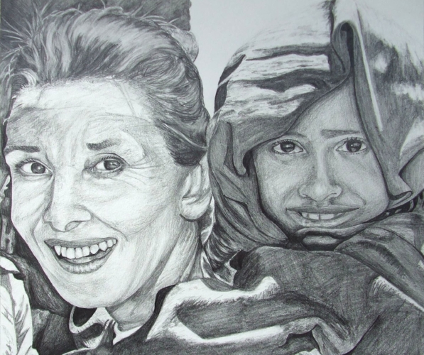 Audrey Hepburn, Ethiopean aid work - A3, graphite pencil, personal collection