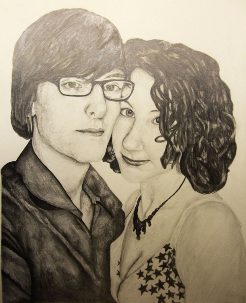 Young couple - A3 - Pencil portrait, specially commissioned