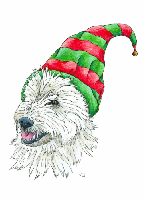 New dog Christmas card. Elf Westie (West Highland Terrier). Pen and watercolour. Available in the   shop