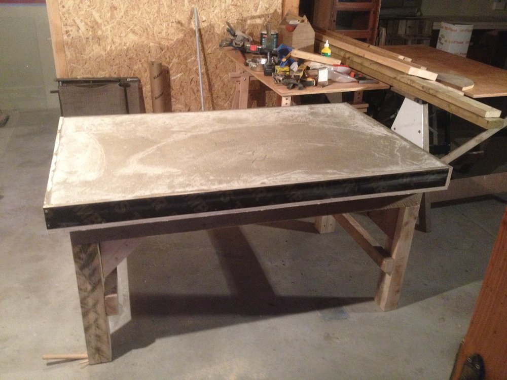 A cement table for wedging clay