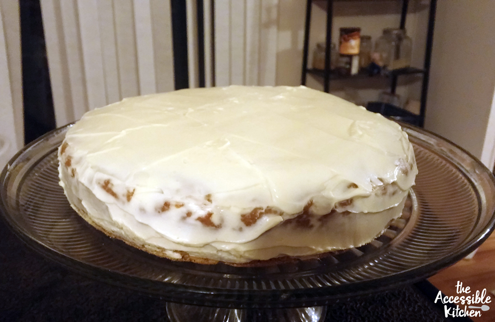 Finished carrot cake with frosting. Who says it has to be perfect to be delicious?