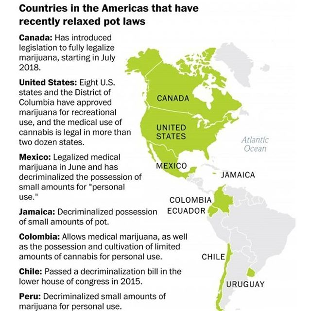 Mapping the status of cannabis legalization in the Americas. Uruguay is the only country in the world with a 100% legalized, state-controlled marijuana industry; their system is not designed to be tourist-friendly, though.  Credit: @washingtonpost  #cannabis #america #legalization #legalmarijuana #decriminalization #legalcannabis #cannabiscommunity #Uruguay