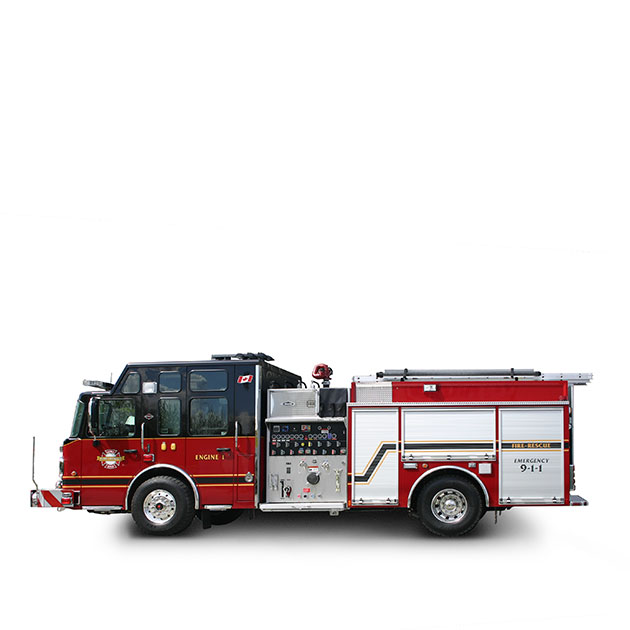 "District of Mission FD  Built on a Spartan Metro Star, LFD Chassis (20"" Raised Roof), Mission's Pumper Rescue utilizes a Cummins ISL9 and an Allison EVS 3000 transmission which yields 450 horse power."