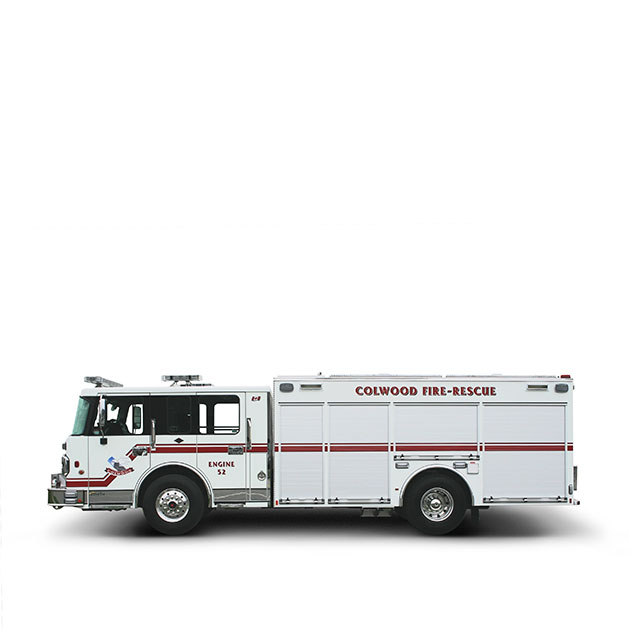 Colwood FD  Built on a Spartan Metro Star, LFD Chassis (Flat Roof), Colwood's Pumper Rescue utilizes a Cummins ISL9 and an Allison EVS 3000 transmission which yields 450 horse power.