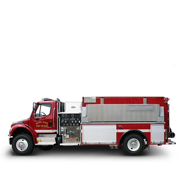 Canal Flats FD  Built on a Freightliner M2 Chassis, Canal Flats' Tanker Pumper utilizes a Cummins ISC and an Allison EVS 3000 transmission which yields 330 horse power.