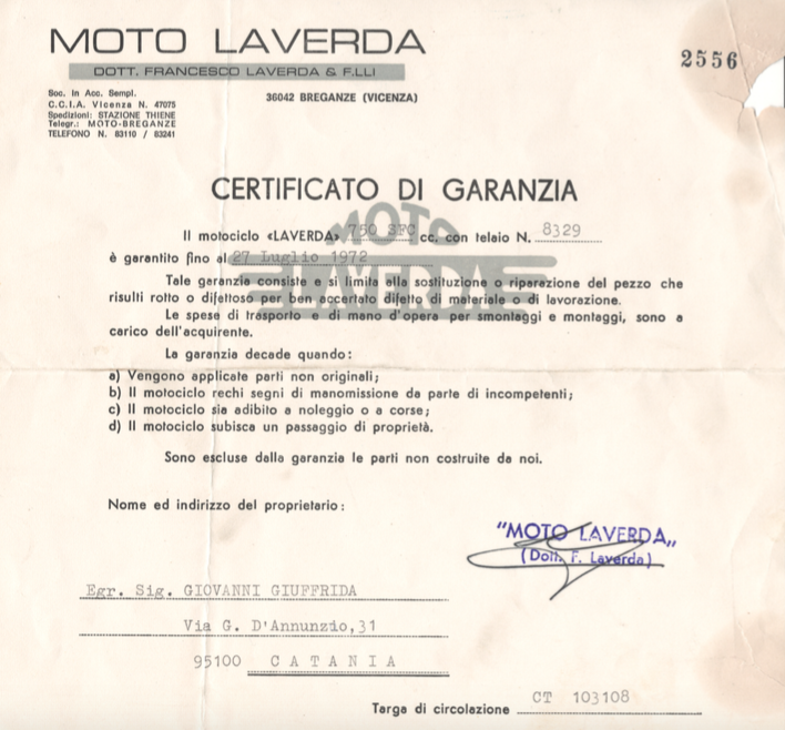 laverda sfc registration 1971