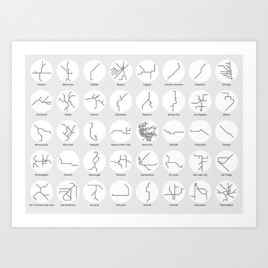 US & Canada Mini Poster - Black & White