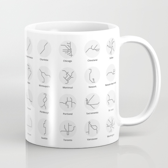 US & Canada Mug - Black & White