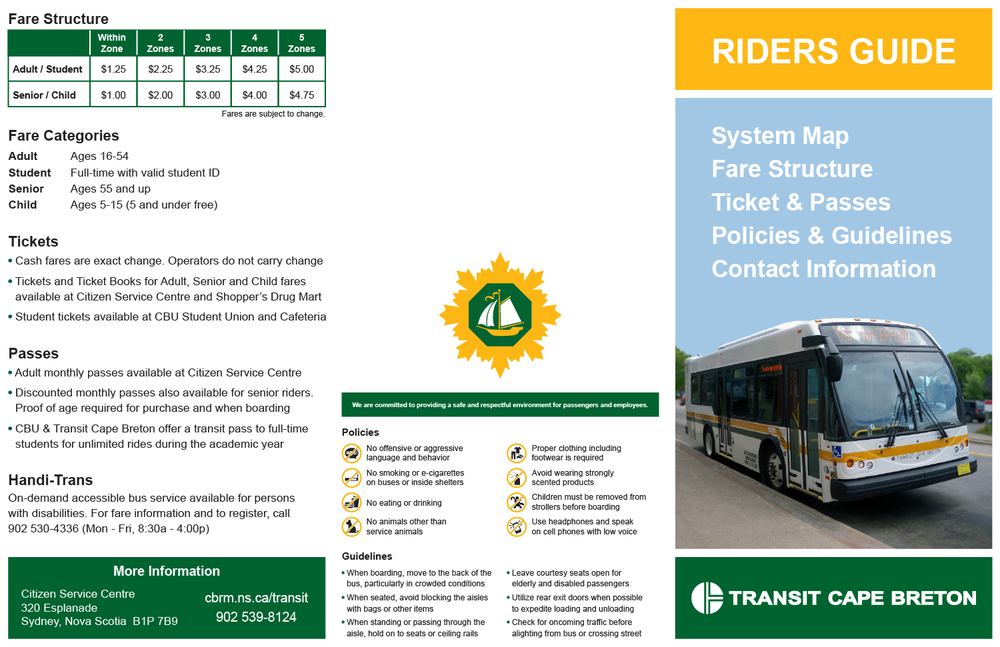 Brochure with Fare Information, Policies, etc