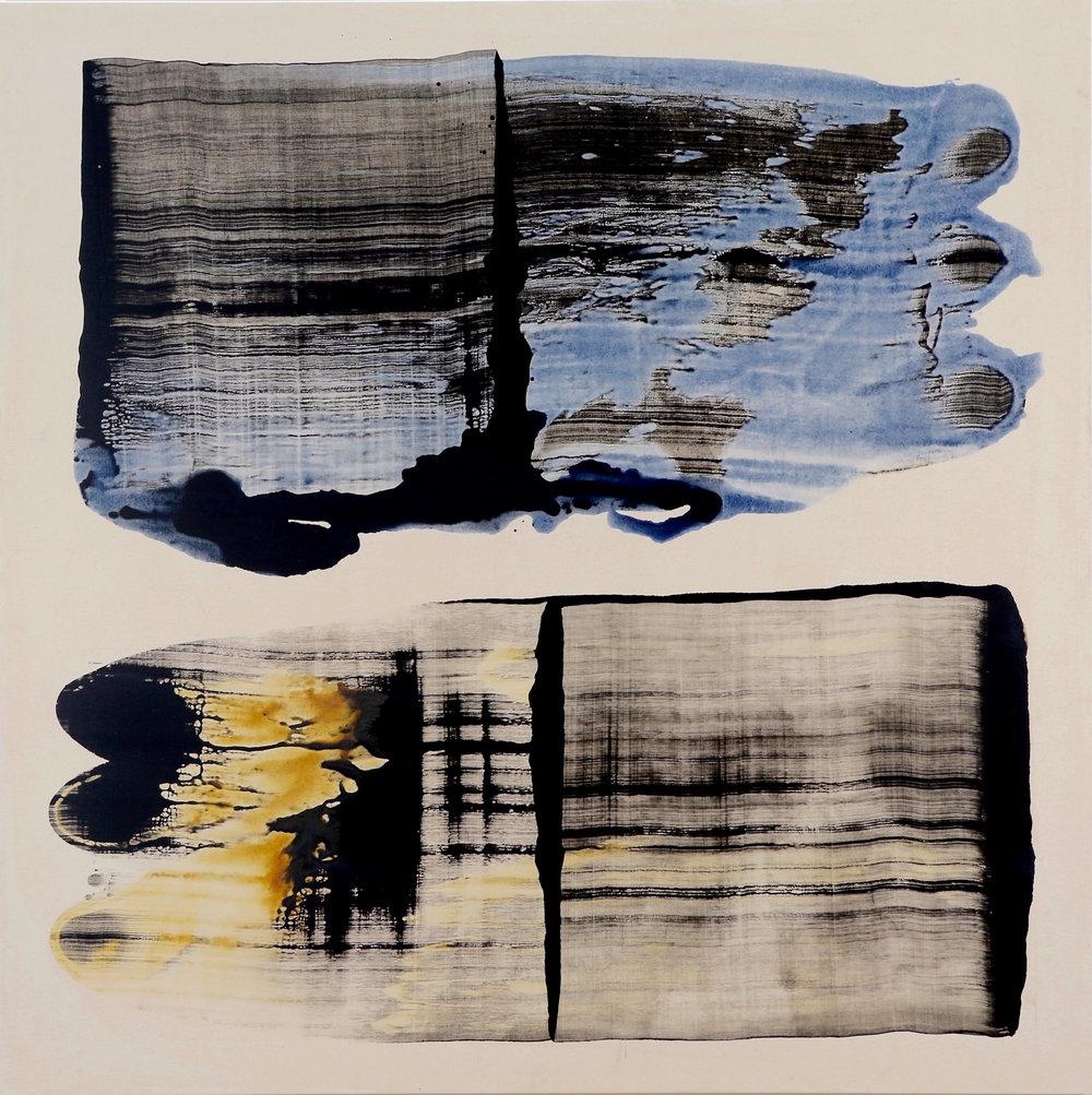 """2 pull, 74.5""""x74.,5""""acrylic on canvas, mark petersen, 2015"""