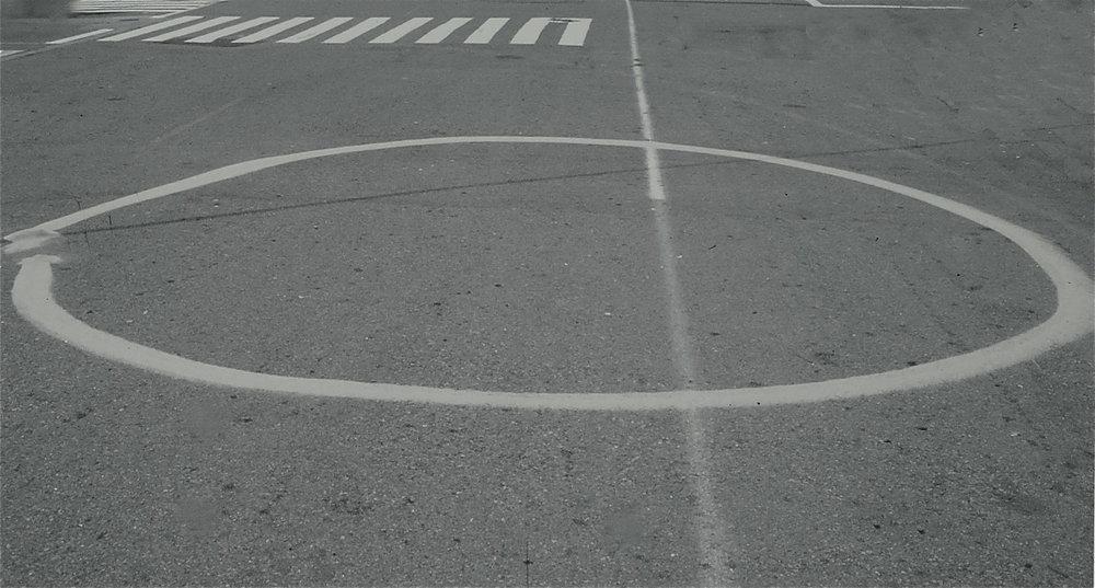 beach sand circle, fort mason san francisco temporary gorilla street drawing mark petersen 1994